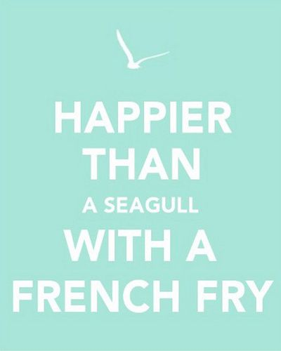Funny Beach Quotes Happier than a seagull with a french fry Art Print by Laura Ruth  Funny Beach Quotes