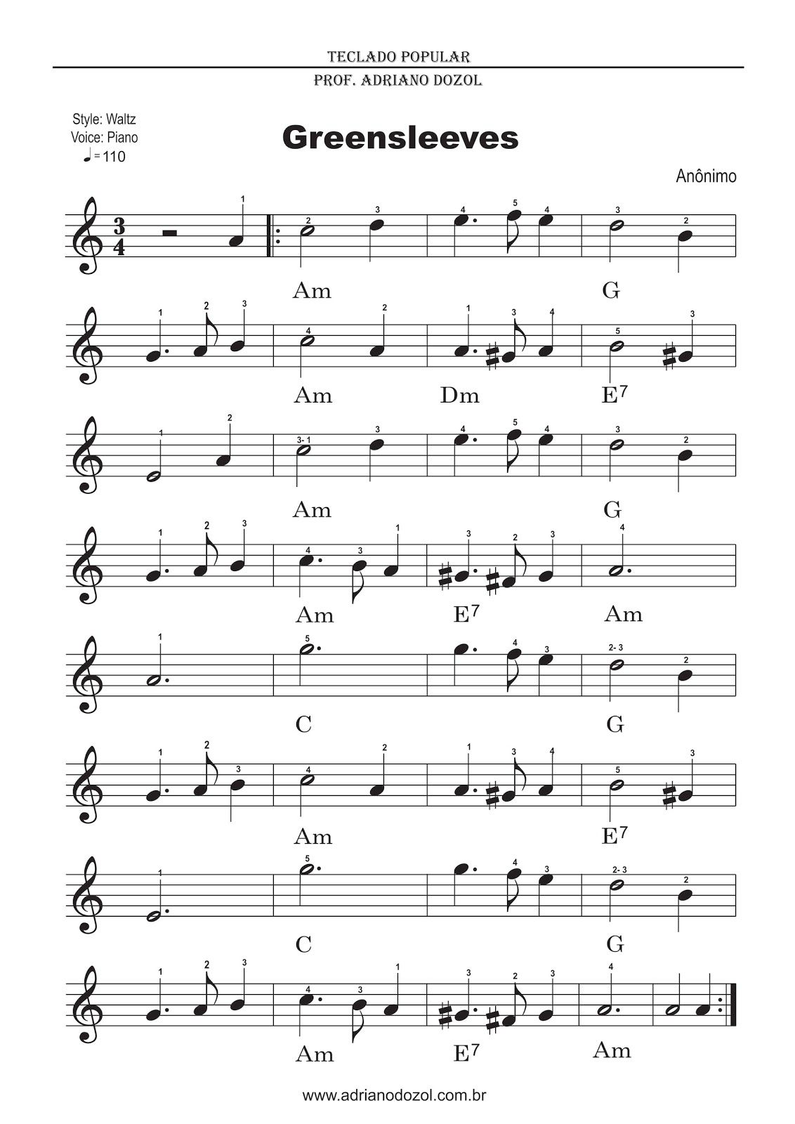 greensleeves piano sheet music advanced pdf