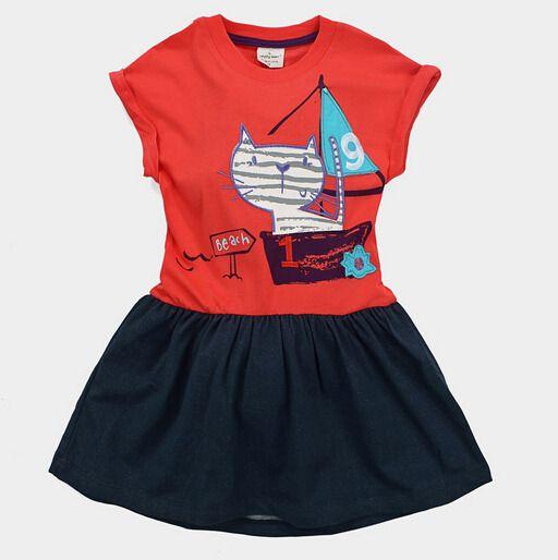 marca 2-7 anos Bebés Meninas vestido da menina camisa curto longos vestidos de manga crianças princesa t crianças blusa gato t-shirt listrado do coelho
