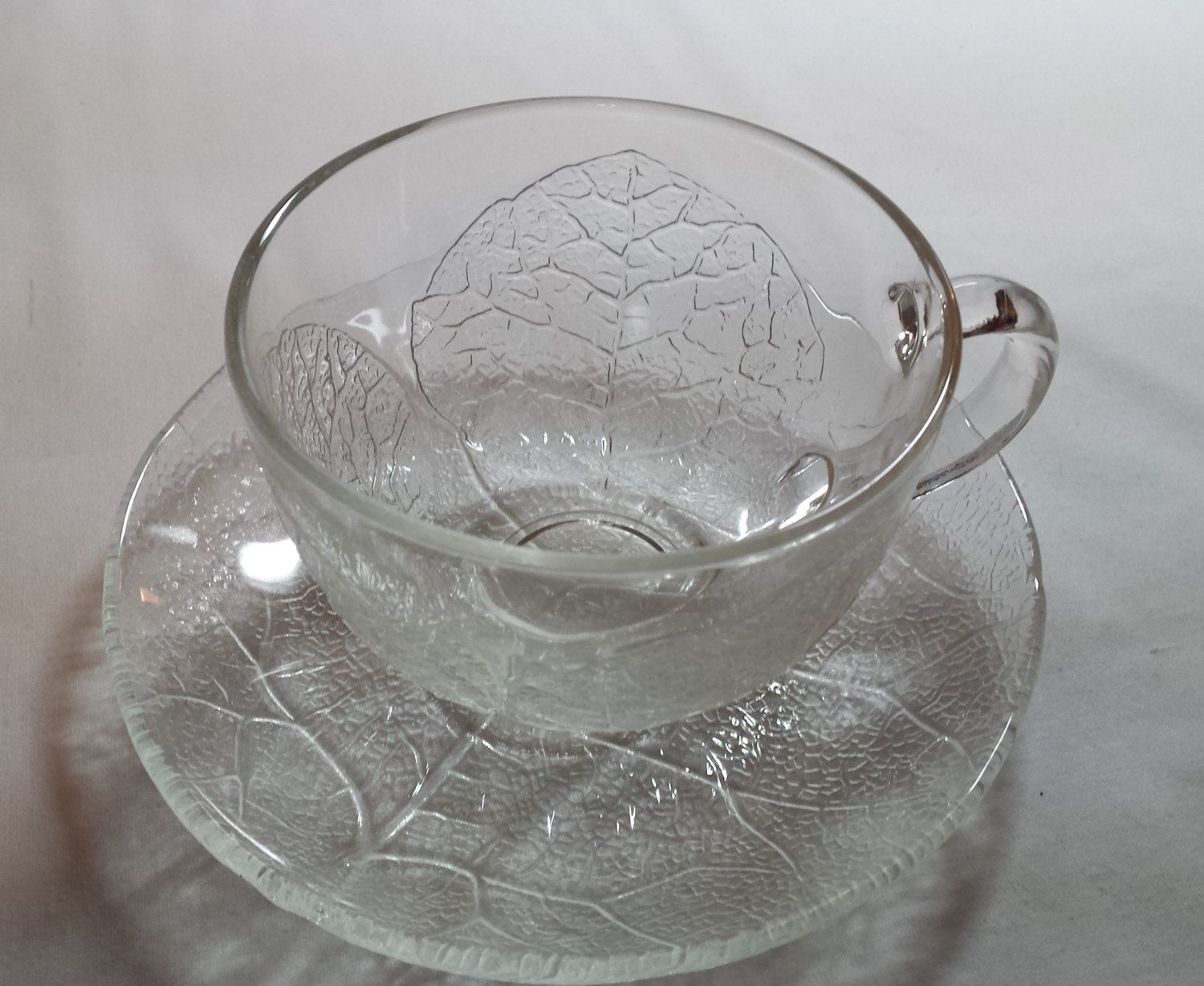 Arcoroc France Aspen pattern cup and saucer clear glass leaf pattern & Arcoroc France Aspen pattern cup and saucer clear glass leaf ...