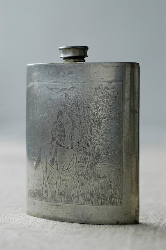 89c6c696a5d0 vintage hip flask   pewter TRIO engraved drinking flask   made in ...