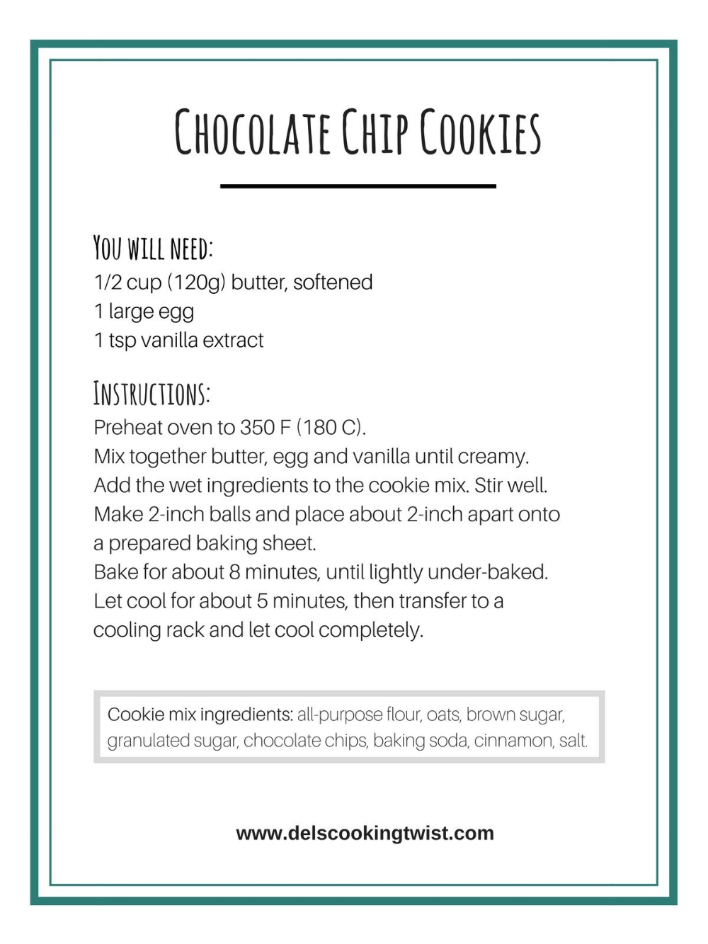 Chocolate Chip Cookie Mix In A Jar With Printable Label Del S Cooking Twist Recipe Chocolate Chip Cookie Mix Chocolate Chip Cookies Cookie Mix