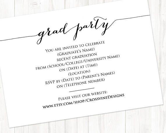 Graduation Party Details Card Insert Grad Party Information Etsy Graduation Party Graduation Party Invitations Templates Graduation Party Cards
