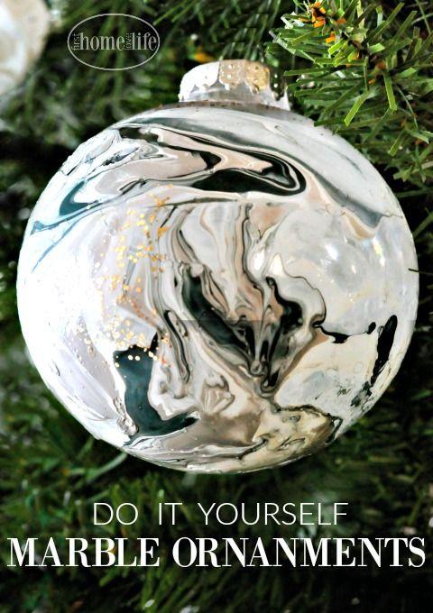 Diy Marble Ornaments Diy Ornaments Pinterest Diy Christmas