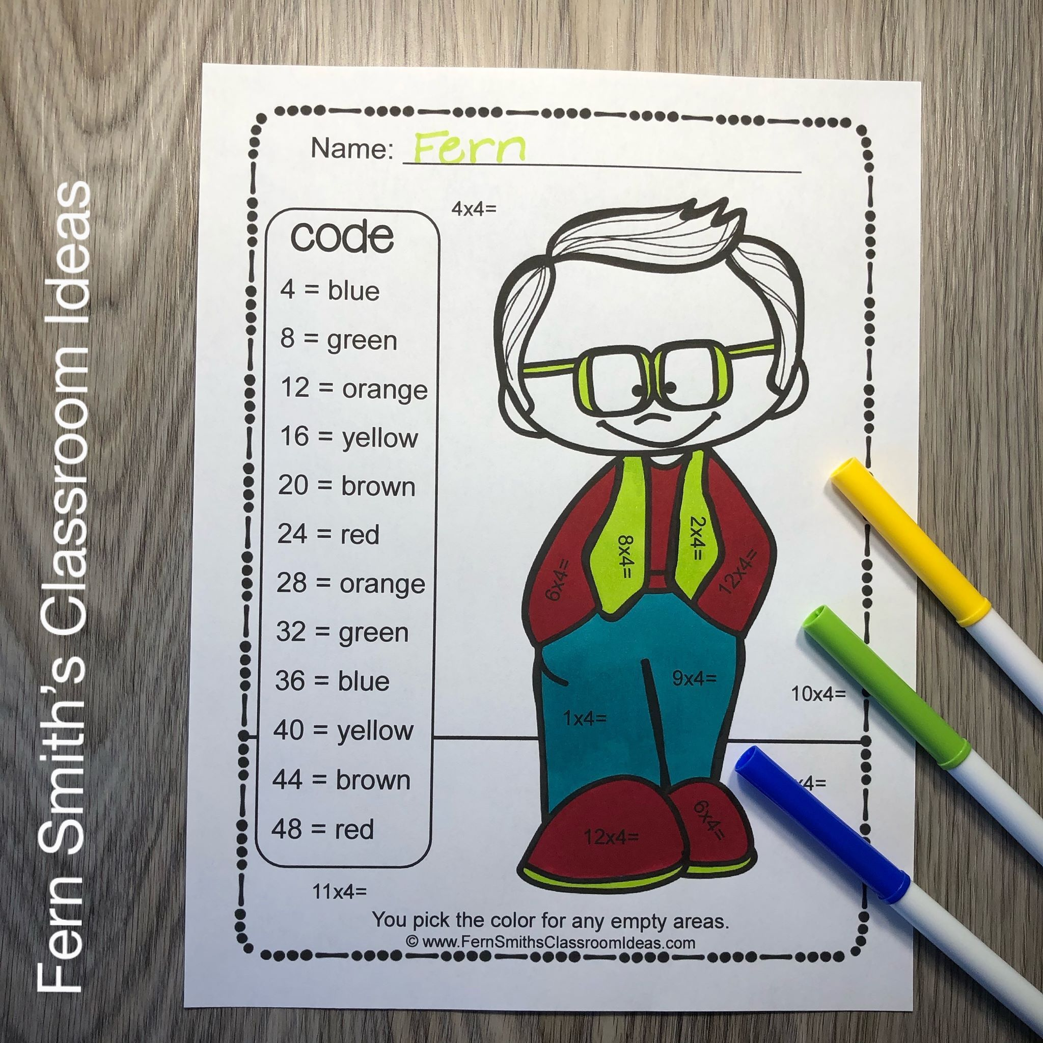 3rd Grade Go Math 4 1 Multiply With 4 Color By Number And