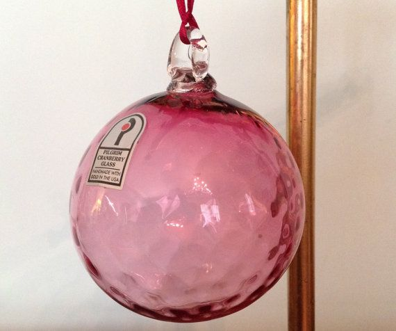 Pilgrim Cranberry Glass Ornament Optic Pattern Mouth Blown Hand