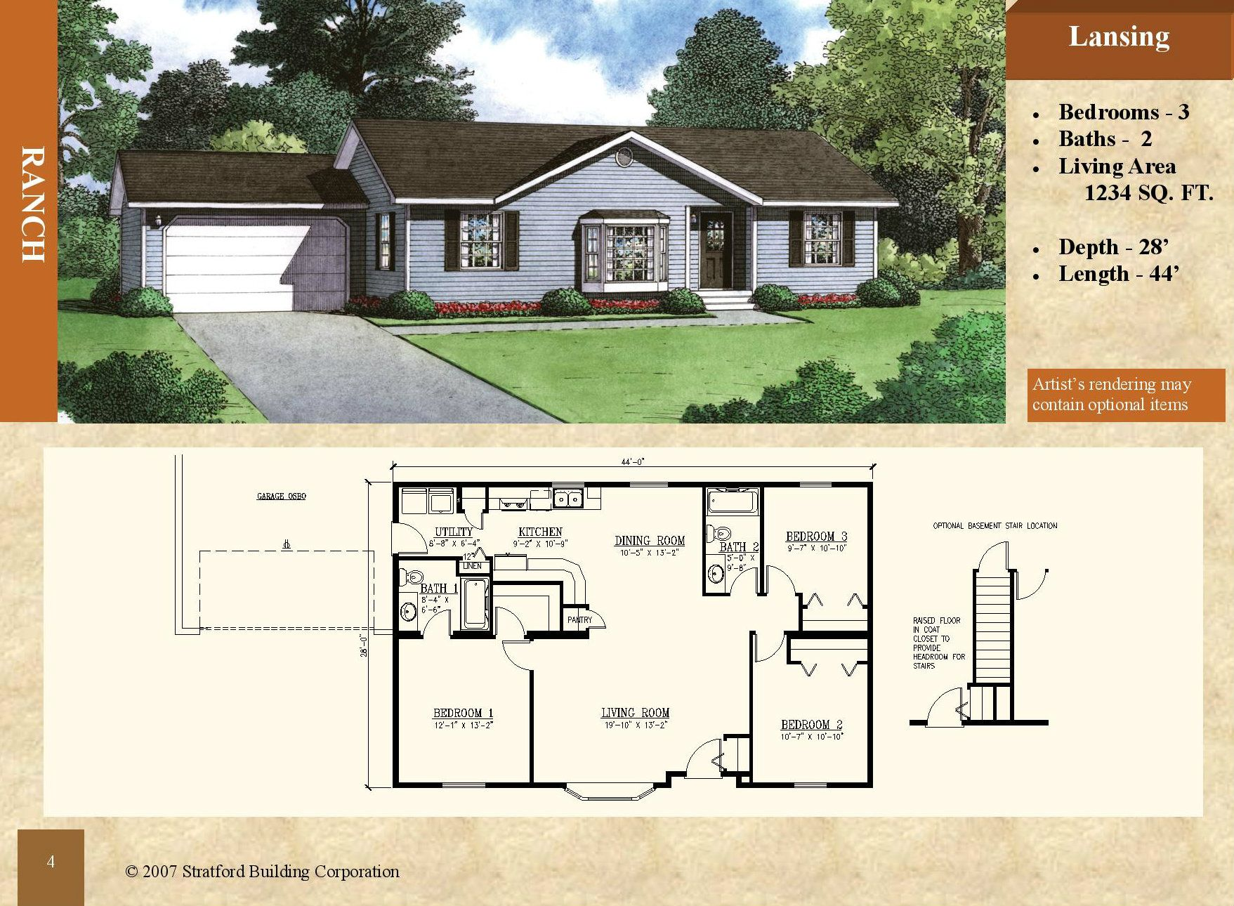 Modular Ranch Style Floor Plan Lansing 1234 Sq Ft 3 Bed 2 Bath Recessed Entry Bay Window Master House Floor Plans Floor Plans Ranch Style Floor Plans