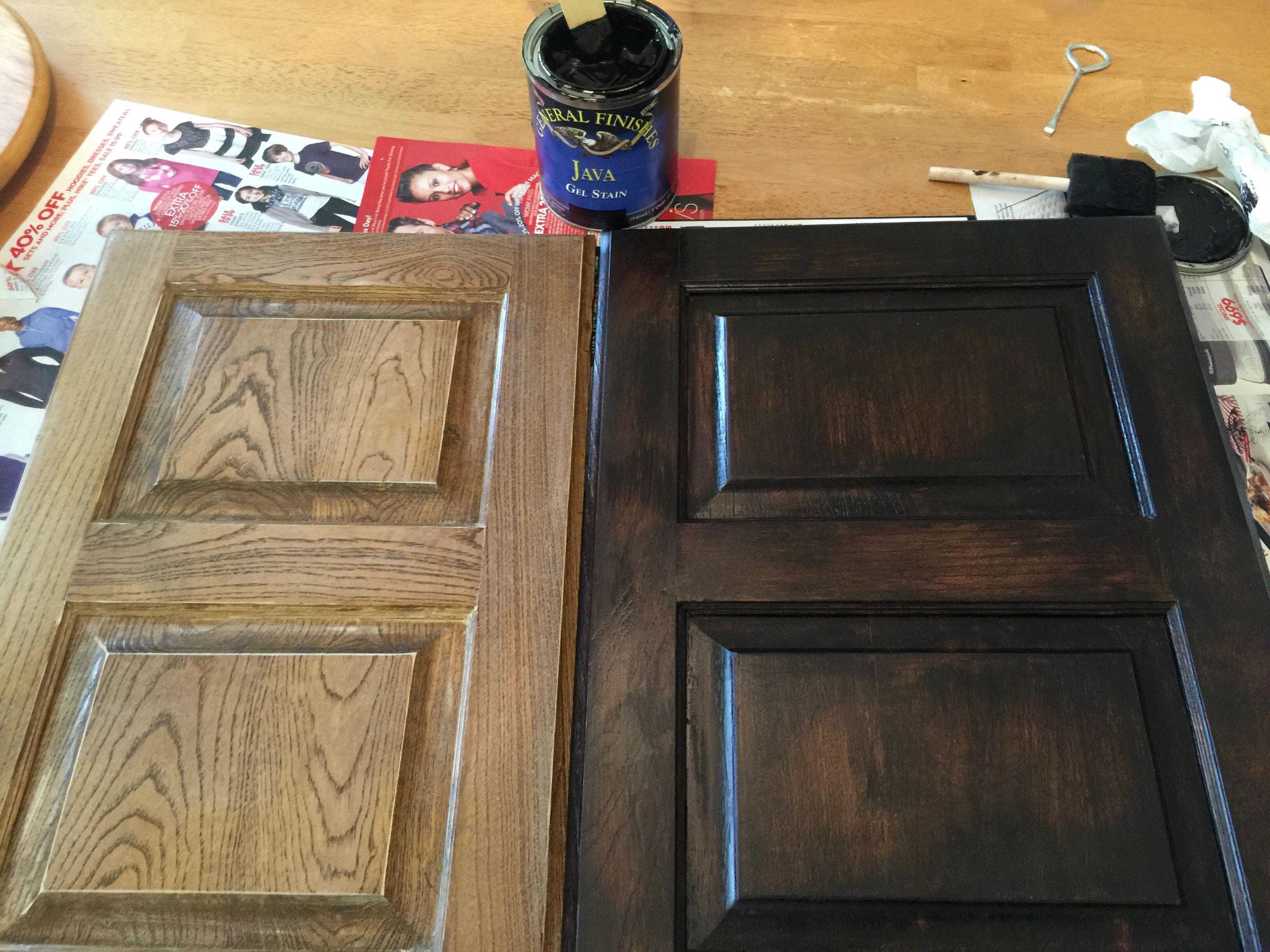 Java Gel Stain To Darker Our Outdated Maple Bathroom Cabinets