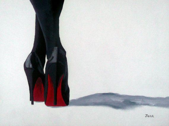 CHRISTIAN LOUBOUTIN Black Shoes Art Print 10 x 8 Oil par SubjectArt,  13.00 c740278fbb36