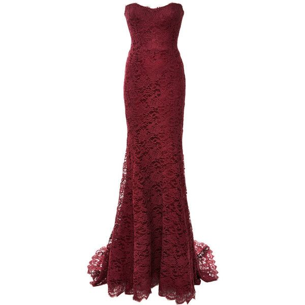 Monique Lhuillier Red Lace Strapless Gown (£2,180) ❤ liked on Polyvore featuring dresses, gowns, long dresses, red lace gown, bridal gowns, red bridal gowns, red evening gowns and long lace evening dress