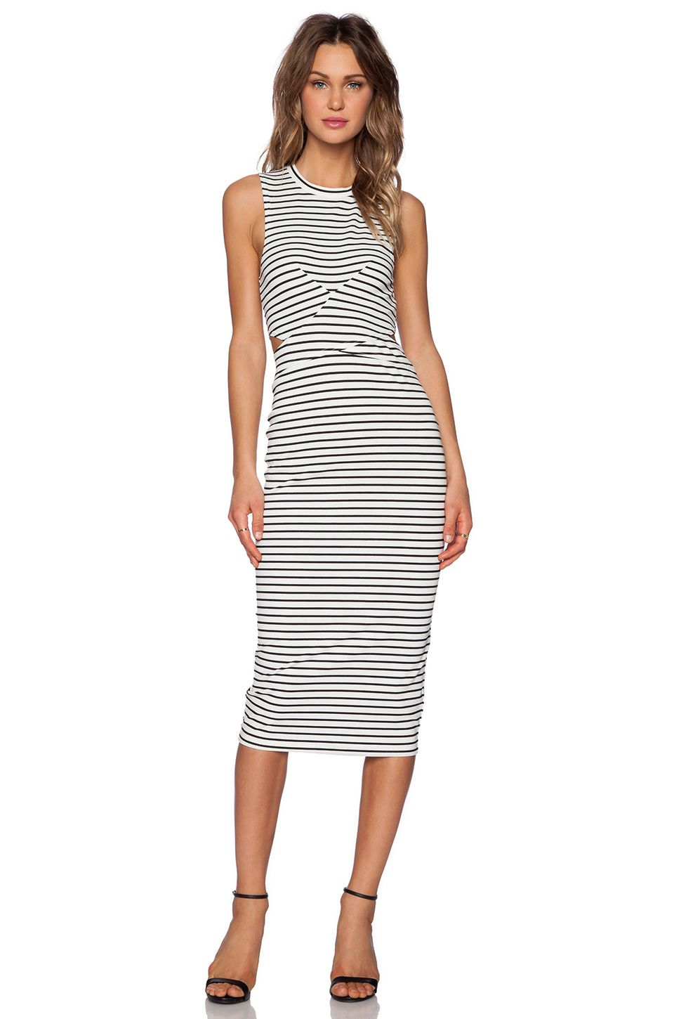 The Fifth Label Starstruck Midi Dress Stripe in White & Black