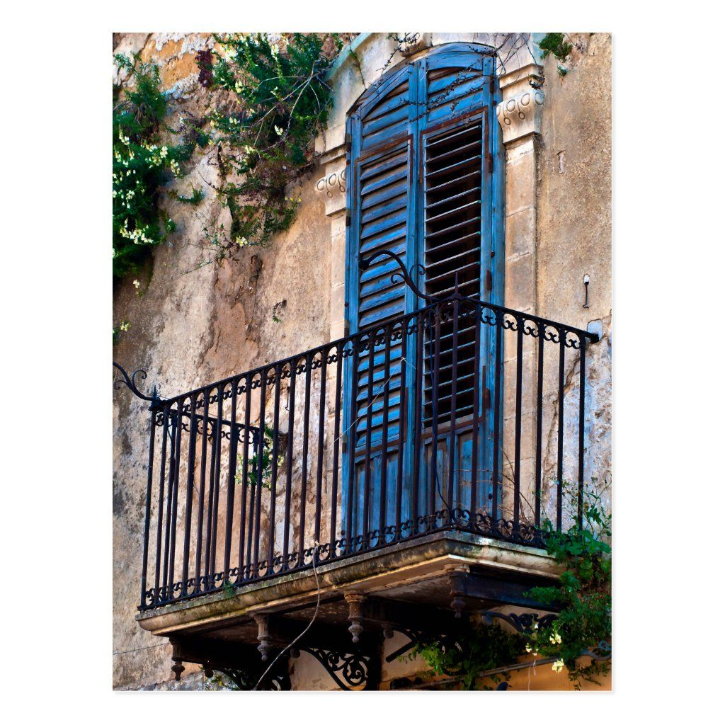 Blue Sicilian Door on the Balcony Postkarte