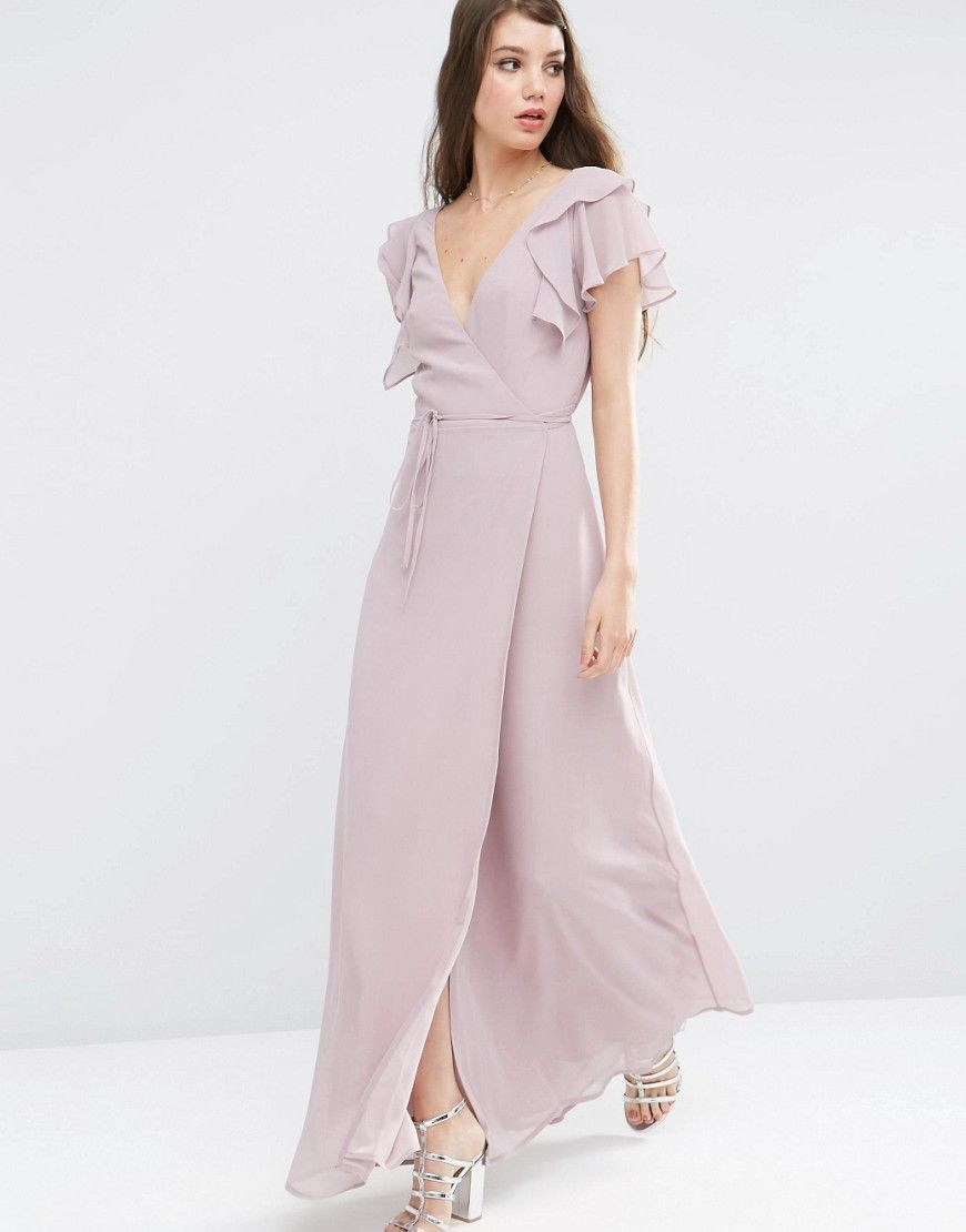 ASOS Frill Wrap Maxi Dress - Purple 5b661a35e