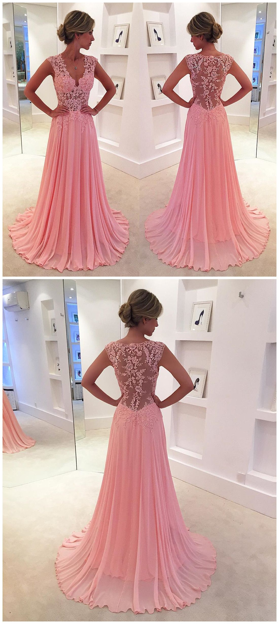 New Arrival Prom Dress,Modest Prom Dress, lace appliques,long prom ...
