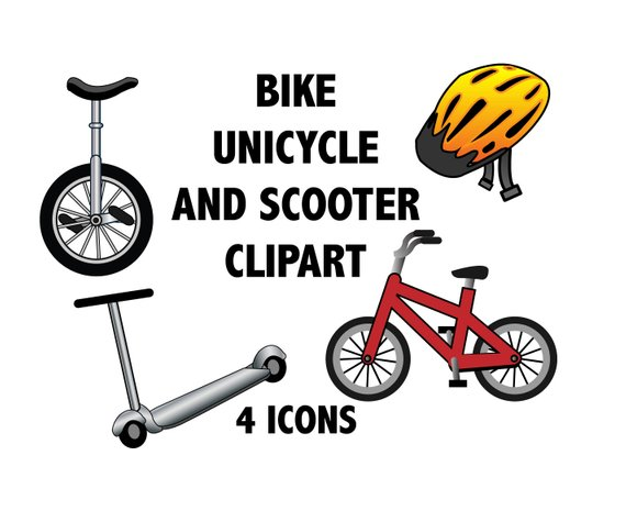 Bike Clipart Scooter Unicycle Clipart Helmet Clipart Bicycle