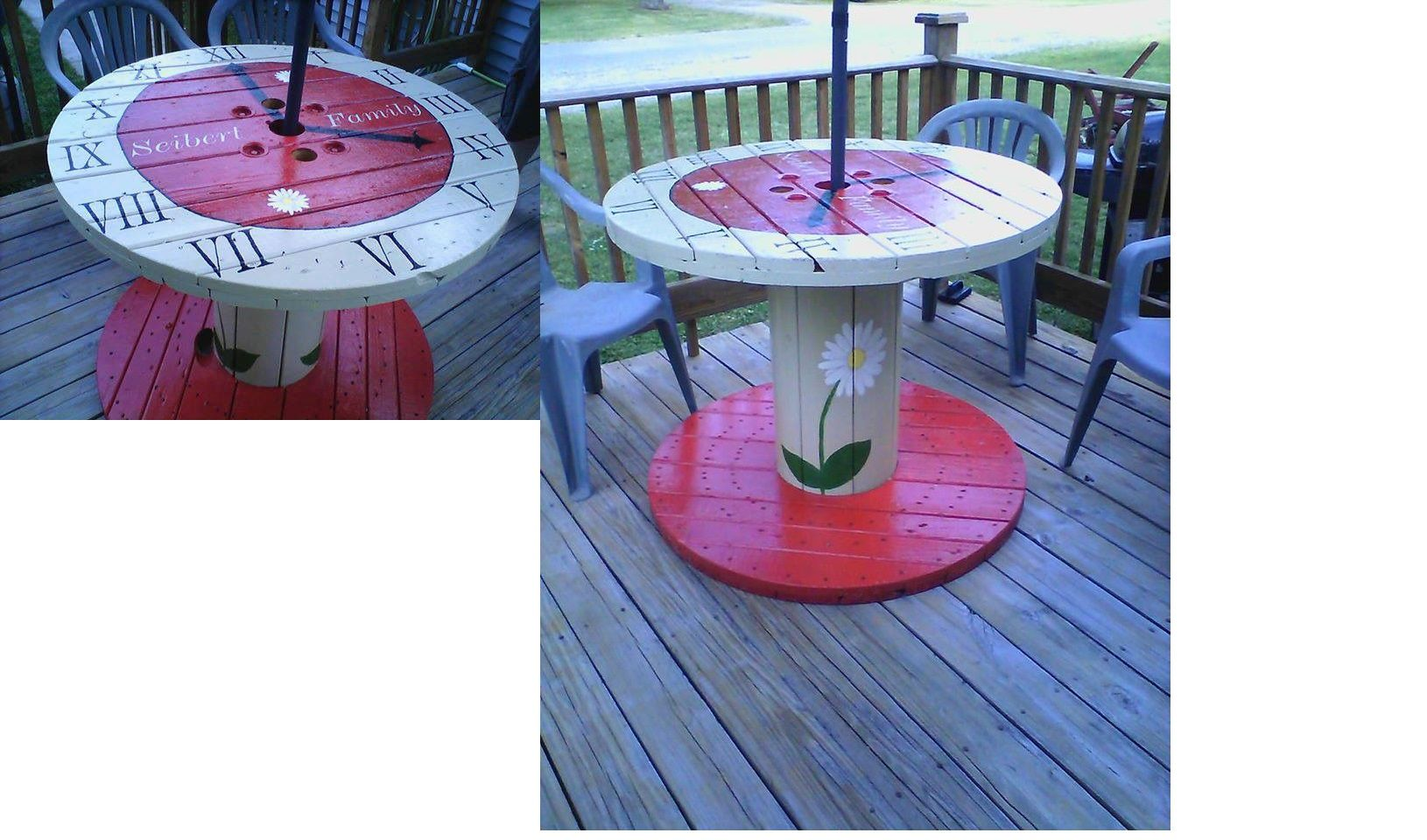 from wooden cable spool to hand painted table diy