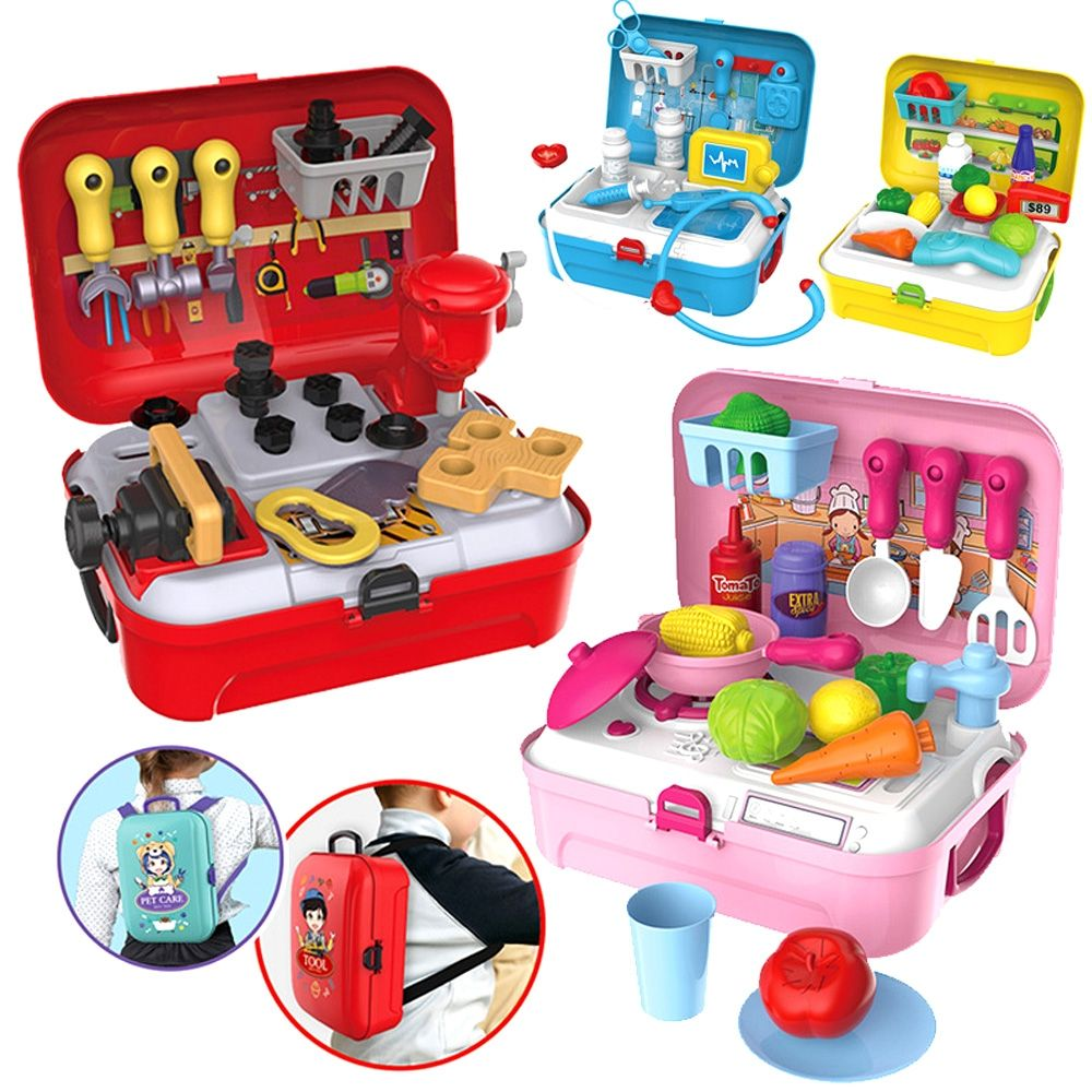 Children pretend play role play house toys portable