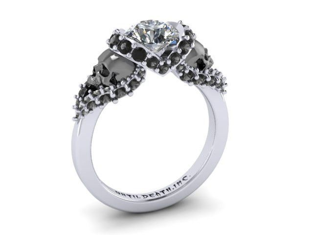 Skull Engagement Ring with Black Face Skulls 14k White Gold with White Diamond Ctr and Black Diamonds sides- UDINC0326