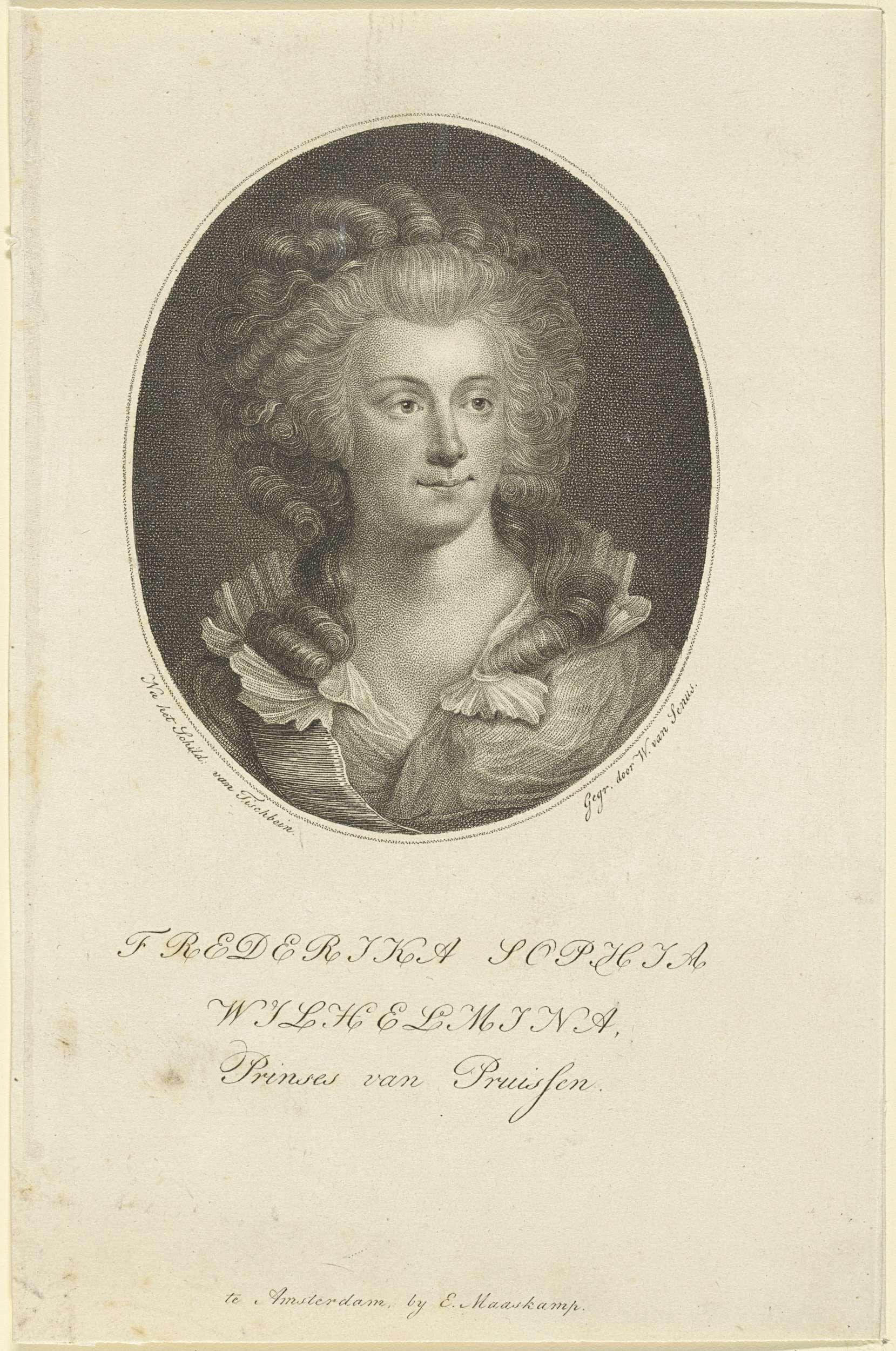 Willem van Senus | Portret van Wilhelmina van Pruisen, Willem van Senus, Evert Maaskamp, 1787 - 1834 | Portret van Wilhelmina in een ovaal. In de ondermarge haar naam en titel.