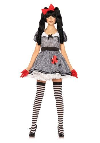 Big pigtail hair and striped stockings, peter pan collar Halloween