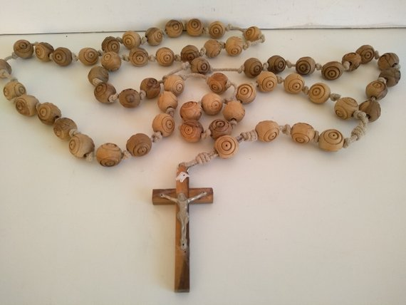 Cross Necklace Large Wooden Beads Wooden Cross With Wooden Beads