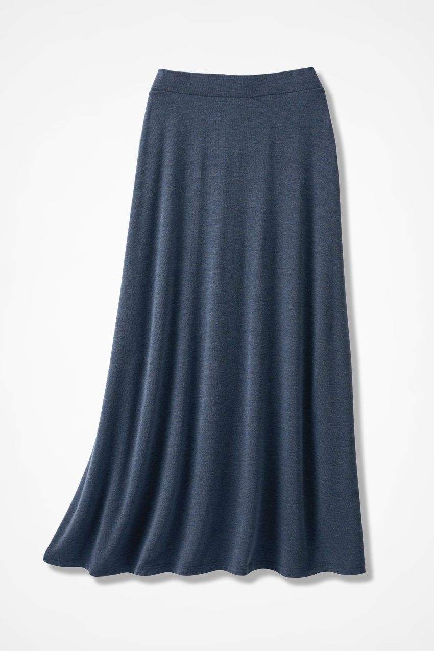 3989b702889 Sweep-n-Swirl Knit Maxi Skirt - Coldwater Creek Heathers navy  100 ...