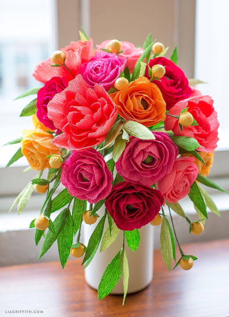 Crepe Paper Neon Wedding Bouquet Paper flowers, Paper