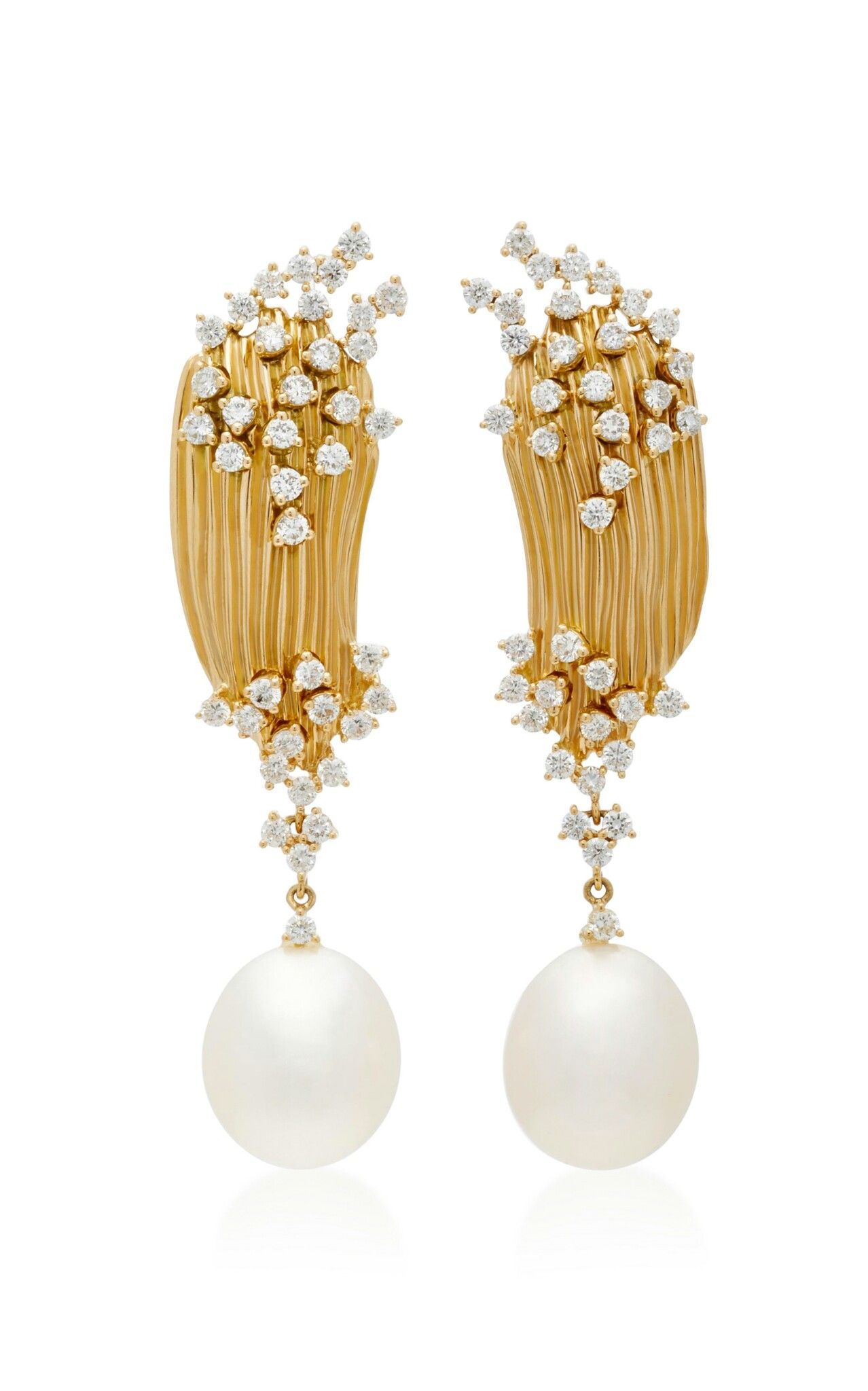 Hueb Plisse 18k Gold Earrings With Diamonds And Pearls