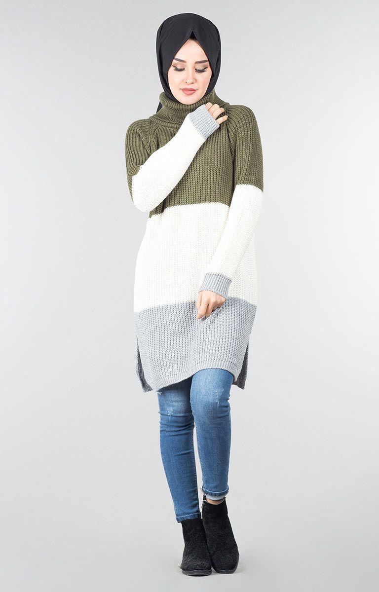ee517d73adc4d Şık Tesettür Triko Tunik Kombinleri | Tesettür | Triko, Kıyafet, Giyim