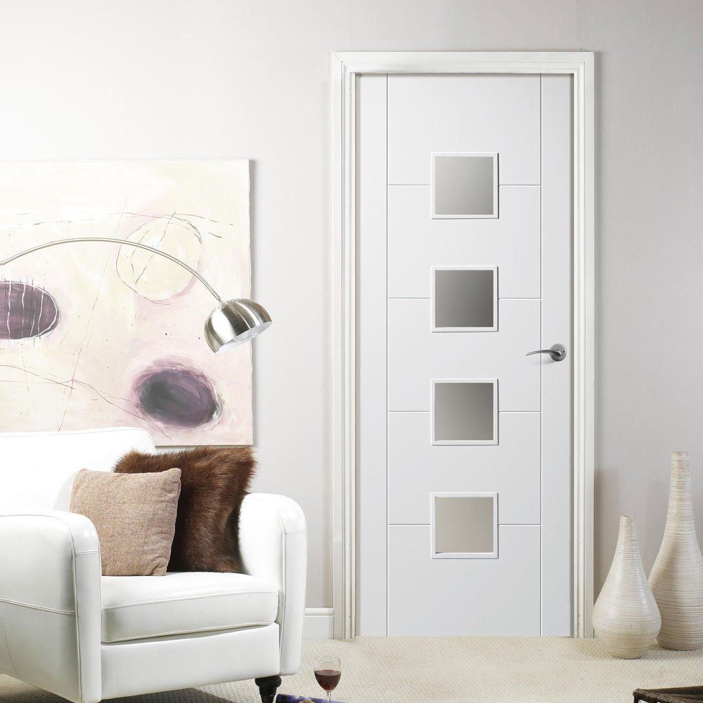 Florida White Primed Flush Door with Frosted Safety Glass & Florida White Primed Flush Door with Frosted Safety Glass | Flush ...