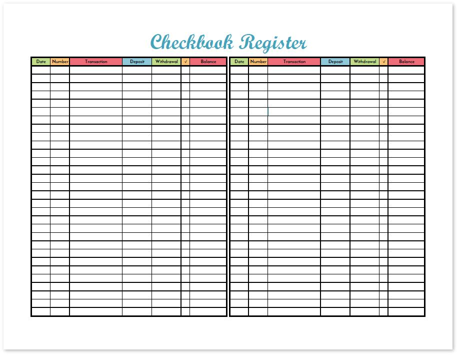 Track All The Transactions On Your Checking Account With The Checkbook Register Printable This Free Budget Binder Budget Binder Printables Checkbook Register