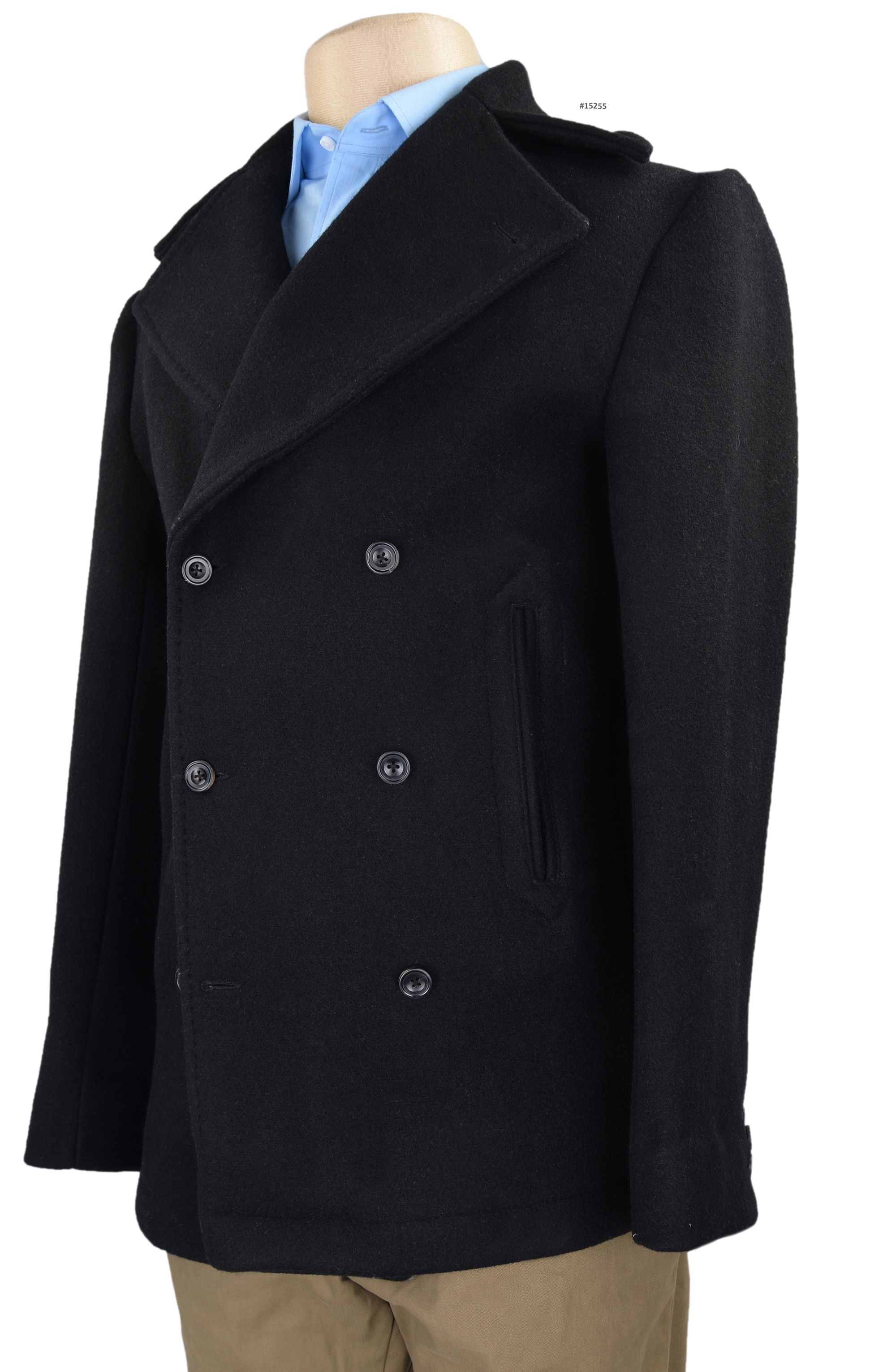 Luxire wool peacoat constructed in Dugdale Black - 25 Oz 100% Wool: http://custom.luxire.com/products/luxire-wool-peacoat  Consists of handwork at collar, lapel, quarter and pockets.  Buttons: Black horn buttons.