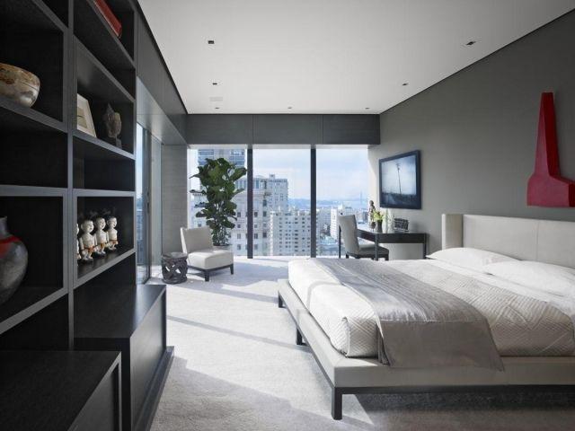 Schlafzimmer Teppichboden ~ Schlafzimmer fensterfront graue wandfarbe heller teppichboden
