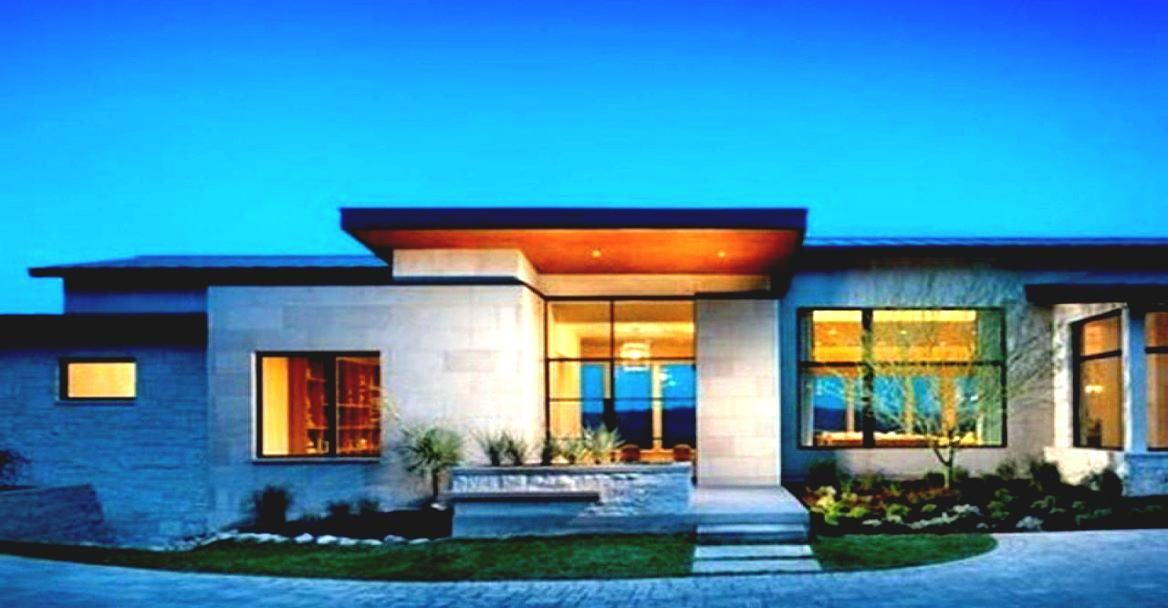 Single story modern home design with green view landscape for Modern design single storey homes