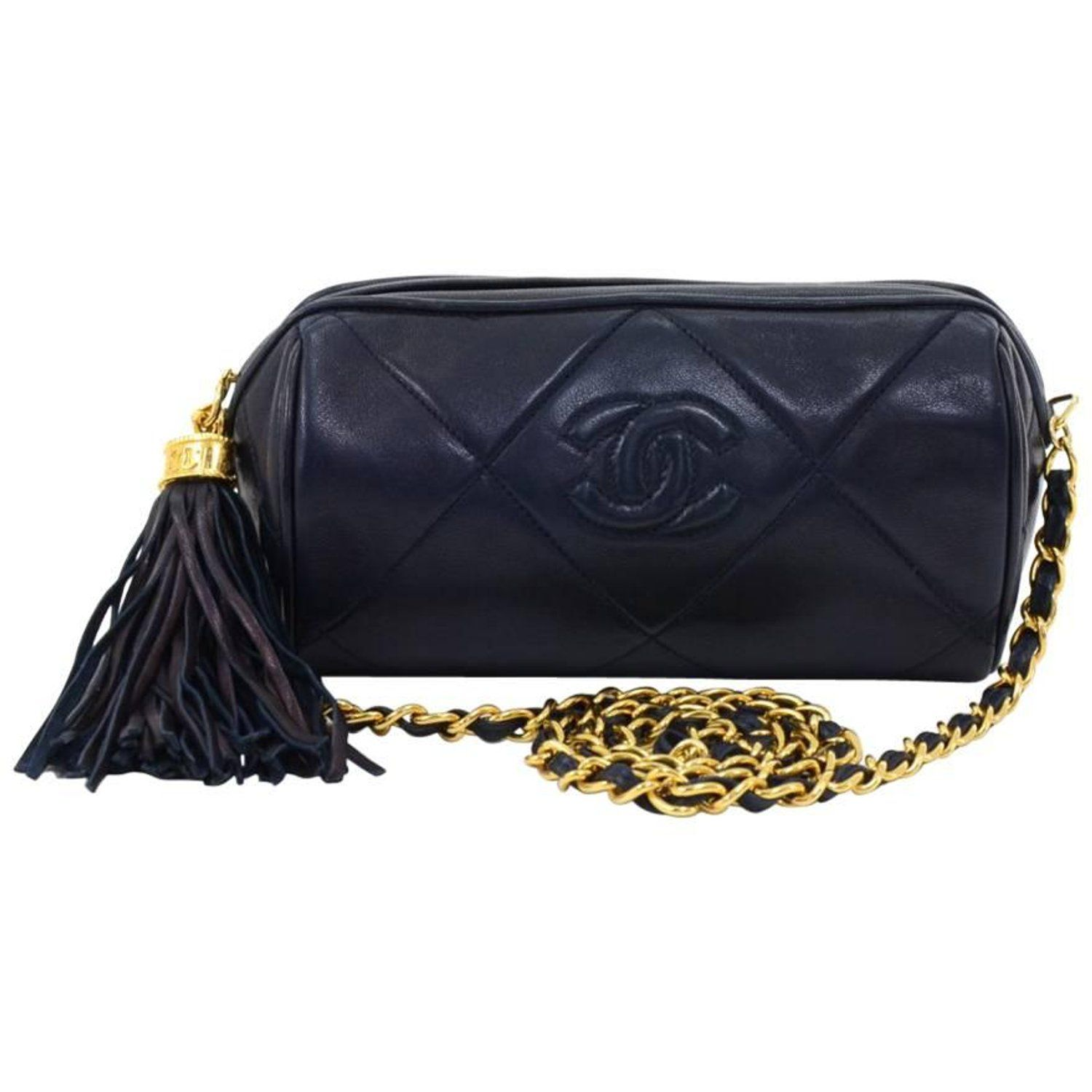 2571af366289 Vintage Chanel Navy Diamond Quilted Leather Barrel Shoulder Bag | My ...