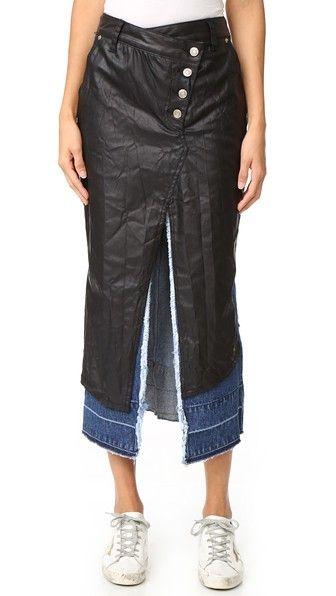 SJYP Black Coating Layered Denim Skirt. #sjyp #cloth #dress #top #shirt #sweater #skirt #beachwear #activewear