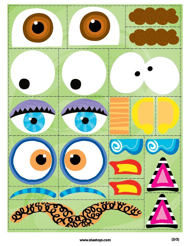 graphic about Build a Face Printable titled Printable: Crank out A Monster Encounter do it yourself toys Printable crafts