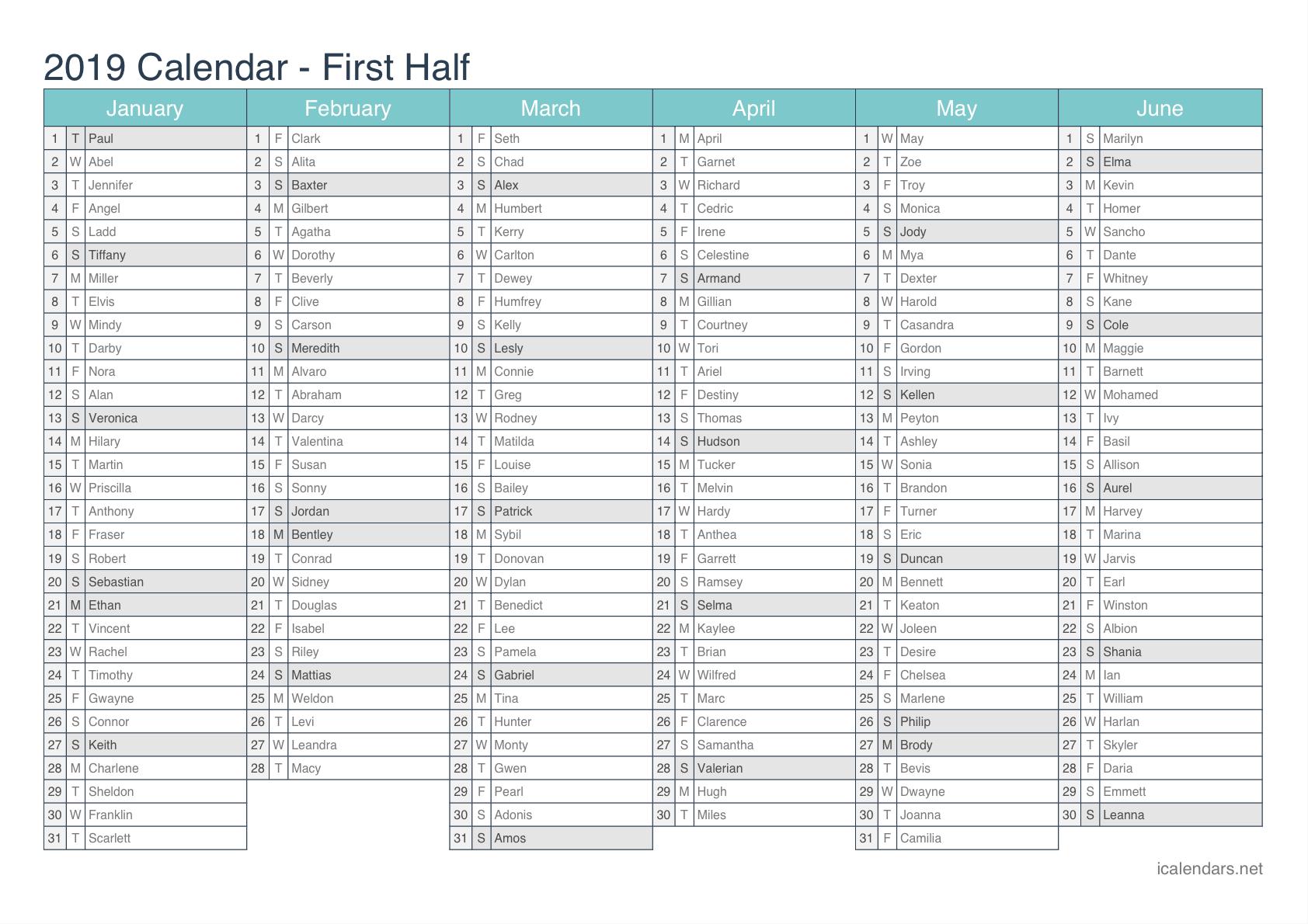 Calendrier 2019 Xls.Unique Calendars In Excel Exceltemplate Xls Xlstemplate