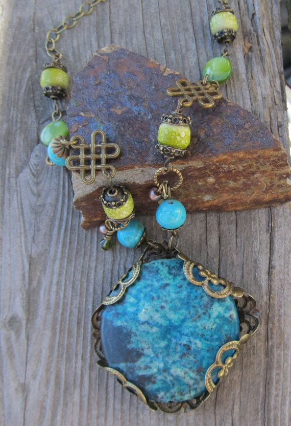 Vintaj necklace brass turquoise green brass by MontanaMagic