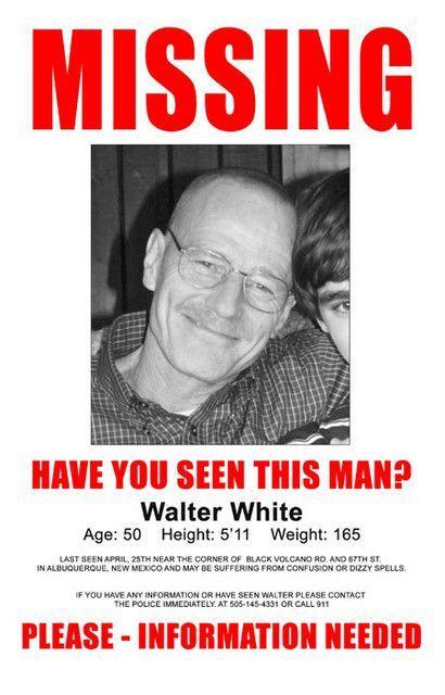 3cbfa8e8d Breaking Bad Walter White Missing TV Show Poster 11x17 Pinterest Imagens