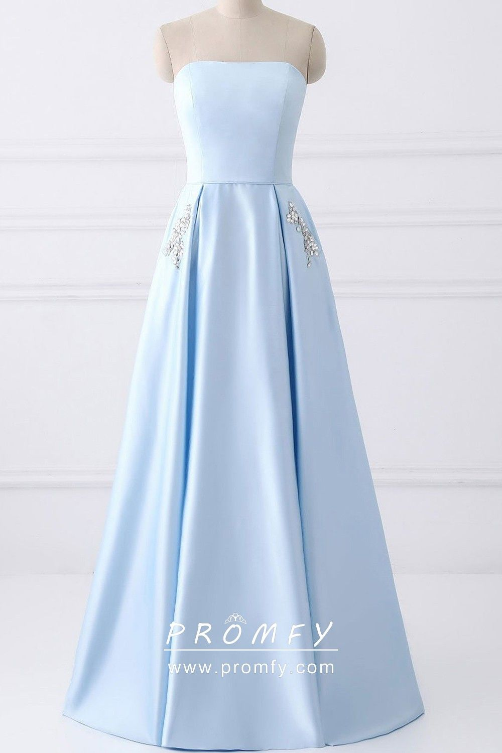 Baby Blue Satin Beaded Pockets Strapless Prom Dress Dresses Long Blue Dress Strapless Prom Dress [ 1500 x 1000 Pixel ]