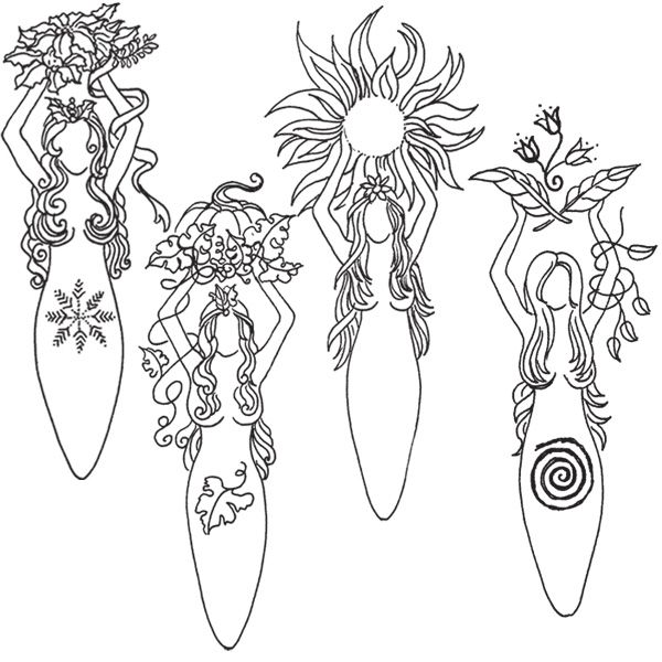 Seasonal Goddesses  **Note that this is a page selling these gorgeous stamps, but if you like you can print the image out for coloring.**