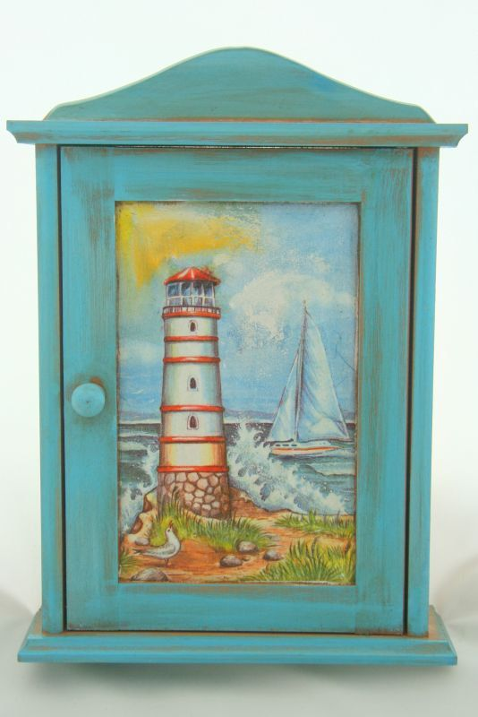 $30,A Wooden Decoupaged Key Cabinet With A Lighthouse,wooden Key Box,key