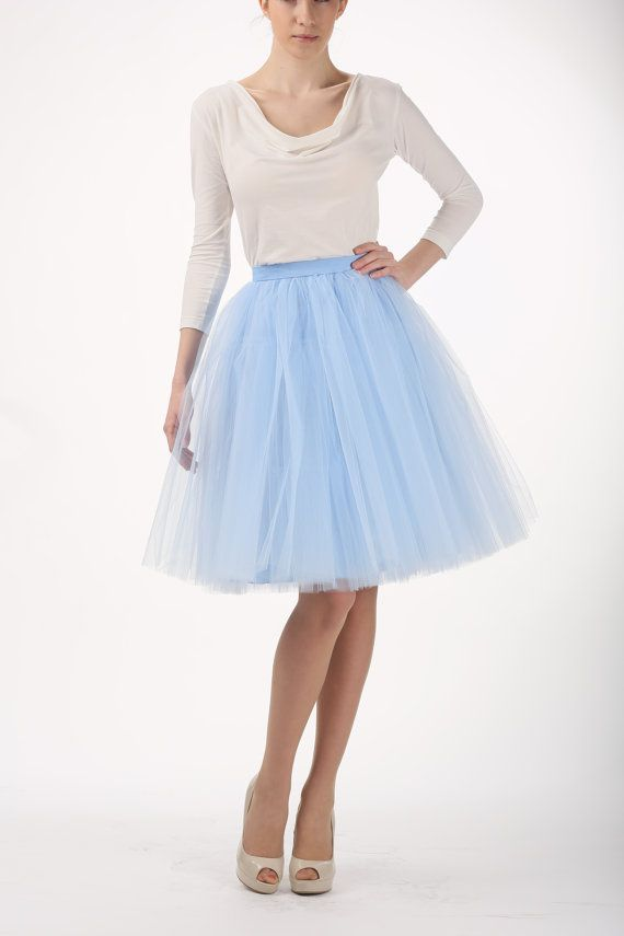 9cdb32828a High-quality baby blue tulle skirt MADE TO ORDER, also good as petticoat.  Made of soft tulle and satin lining. SIZES: Size XS - length 56 cm,