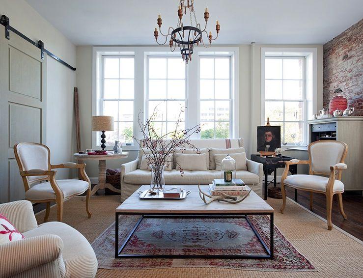 living rooms - oriental rug layered sisal rug brickmaker's coffee