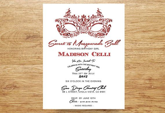 masquerade party invitation sweet 16 quinceanera invitation ruby red and white mask invite16th birthday bachelorette party birthday
