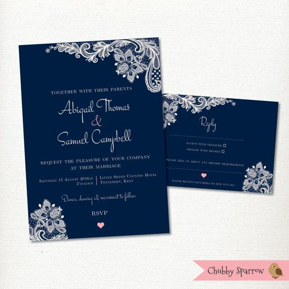 picture about Printable Invitations Kit identified as Army Blue Wedding ceremony Invitation, RSVP card mounted package, Lace