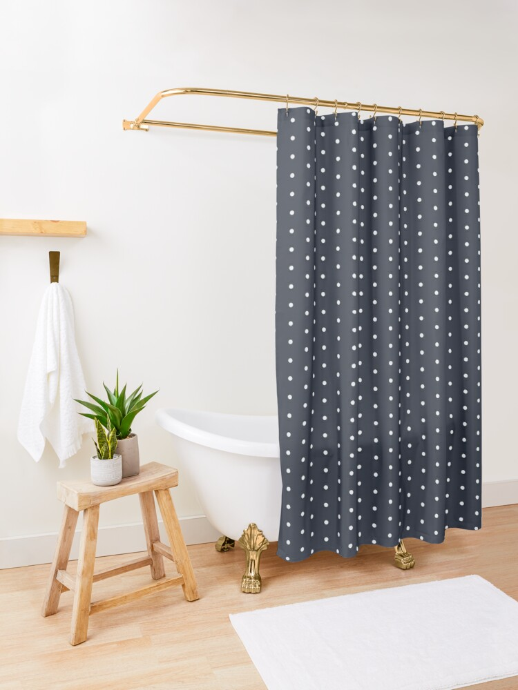 White And Navy Blue Classic Polka Dot Pattern Shower Curtain By Redjaygraphics In 2020 Blue Shower Curtains