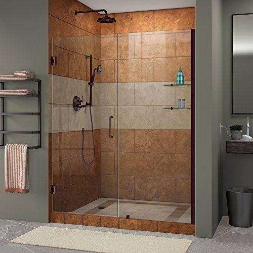 DreamLine Unidoor 54-55 in. Width, Frameless Hinged Shower Door, 3/8 ...