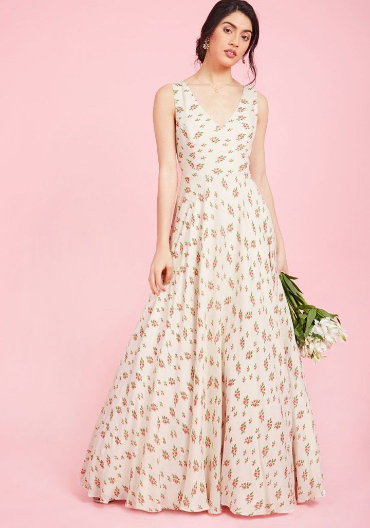 Maxi printed wedding dress - Simple Chic Wedding dresses under $300 | Wedding Dress for garden wedding #bohoweddingdress #simpleweddingdress #chicweddingdress #bohogown